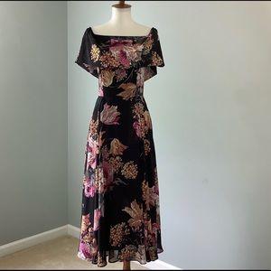ASOS Black Floral Shoulder Midi Chiffon Dress